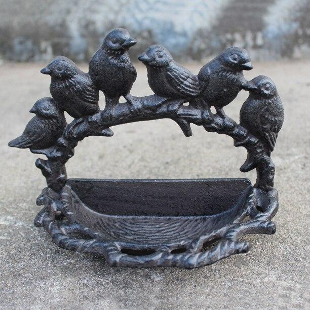 Classic Cute Six Birds Around Branch Design Home Garden Decor Cast Iron Metal Bird Feeder Bowl