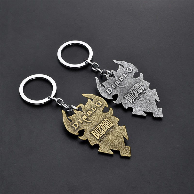 Game Diablo III 3 Logo Metal Keychain Blizzard Key Chains Reaper of Souls Expansion Vintage Key Ring Drop shipping 1