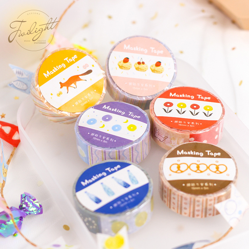 Mohamm Best Collage Series Kawaii Diy Adhesives Masking Tape Fashion Gifts Diary Decor School Office Art Supplies Stationery