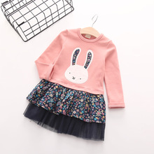 2016 new spring autumn Girls Kids Foral Cute Rabbit Long Sleeve Cotton Princess Dress cute baby Clothes Children Clothing 20