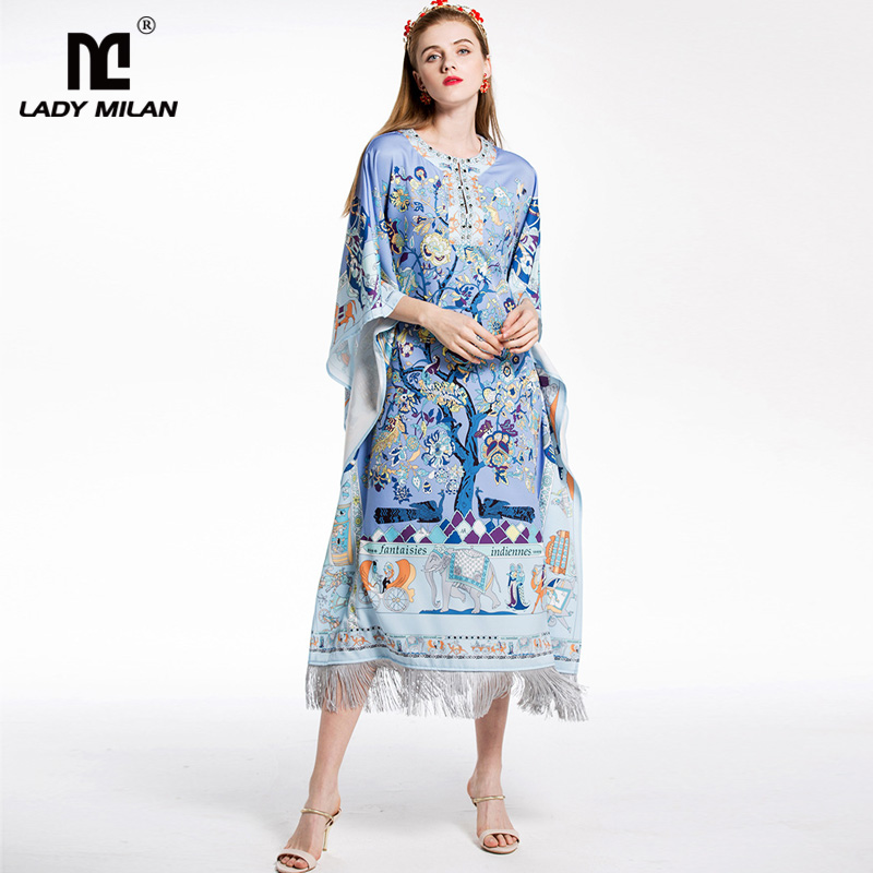 New Arrival 2018 Womens O Neck Loose Design Floral Printed Beaded Tassels Fashion Holiday Casual Beach Dresses