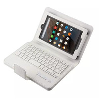 For Amazon Kindle Fire HD 7 Case 2015 PU Leather Removable Wireless Bluetooth Keyboard Case For