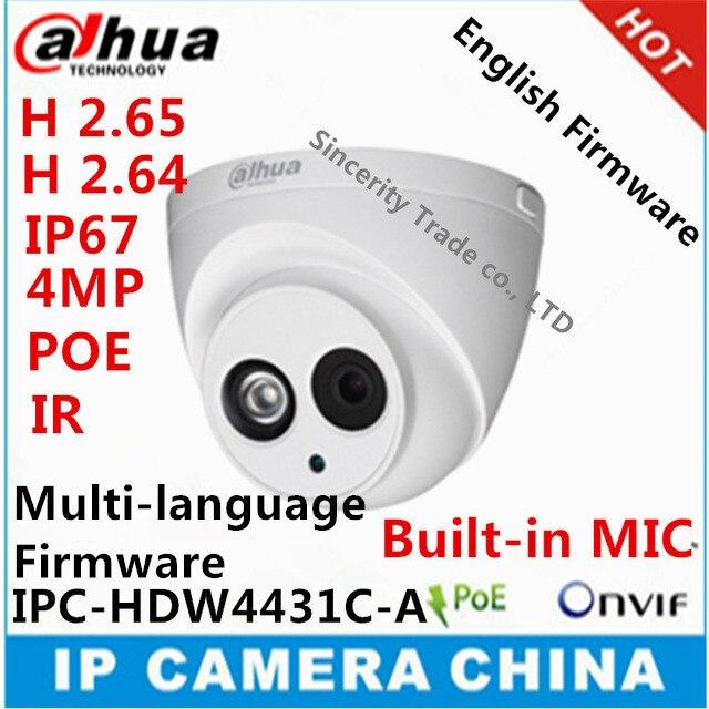 imágenes para Dahua H2.65 IPC-HDW4431C-A MICRÓFONO Incorporado HD $ NUMBER MP IR 50 m Cámara de red IP de seguridad cctv Cámara Domo Soporte POE HDW4431C-A