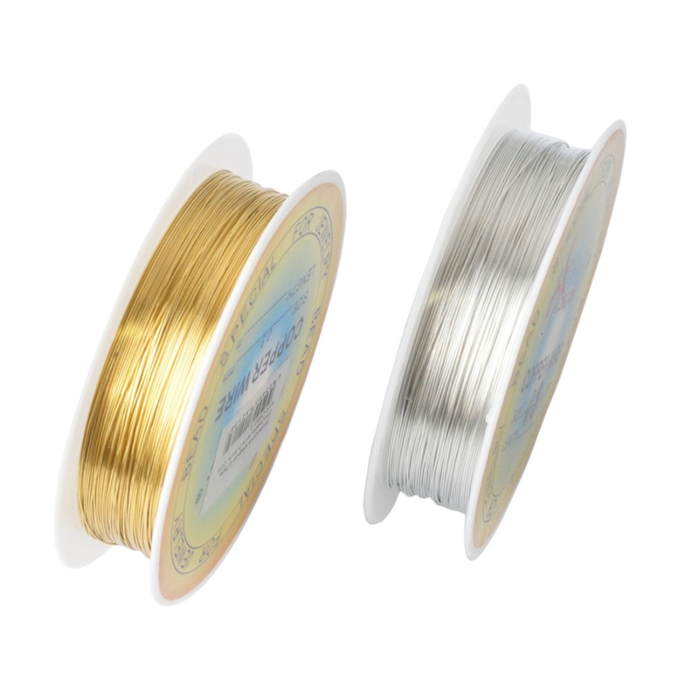 New LNRRABC 0.25/0.3/0.4/0.5/0.6/0.7/0.8/1mm 1 Roll Alloy Cord Silver Gold Color Craft Beads Rope Copper Wires Beading Wire low resistivity cuni alloy wires cuni10 alloy wire