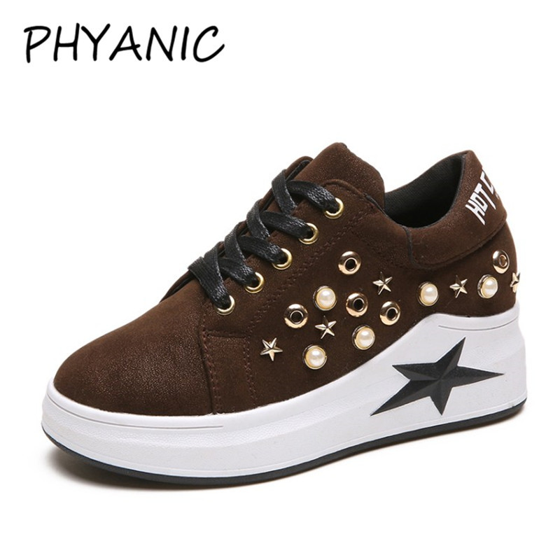 PHYANIC Wedge Heel Shoes Fashion Womens Elevator Trainers Shoes For Women Breathable Lace Up Height Increasing Shoes CJF3188