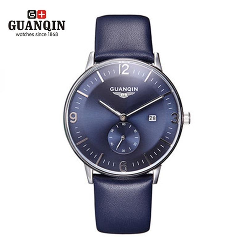 ФОТО High Quality Original GUANQIN  Men Watch 30 m Waterproof Men Watch Leather Male Fashion Sports Quartz Watch Male Wristwatches