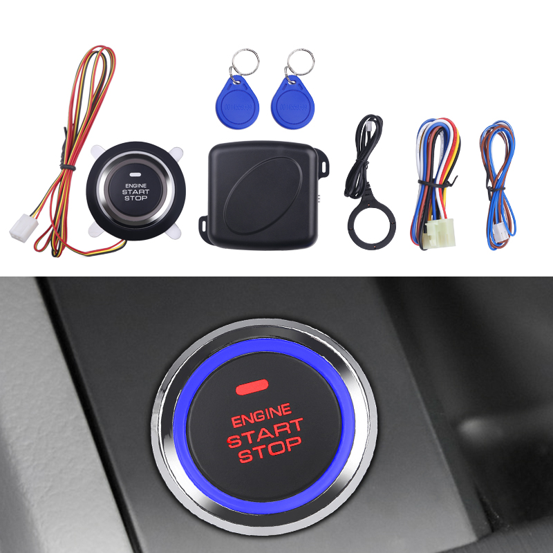 Auto Car Alarm Engine Star line Push Button Start Stop RFID Lock Ignition Switch Keyless Entry System Starter Anti-theft System