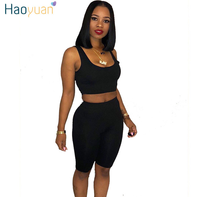 41f4e2f69a5 HAOYUAN Two Piece Set Summer Outfits Sexy Crop Top+Knee-Length Shorts Sweat  Suit Matching Sets Women Clothes Casual Tracksuit