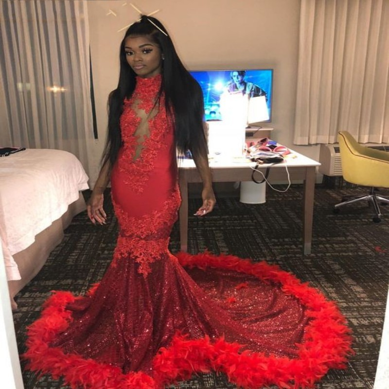 Sparkly Feathers Mermaid Red   Prom     Dresses   2019 Sexy African Halter Open Back Black Girls   Prom   Graduation Party Gowns Gala   Dress