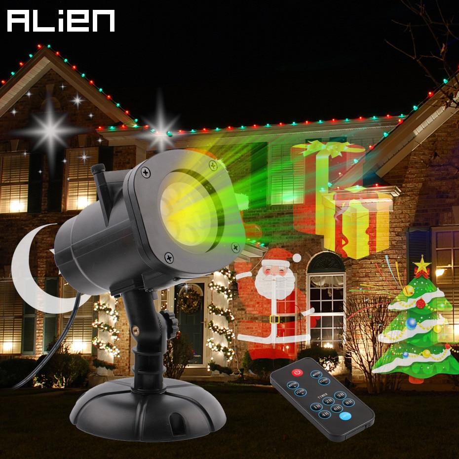 цена ALIEN 16 Slides Remote RGB LED Projector Waterproof Outdoor Landscape Christmas Snowflake Indoor Party Holiday Shower Lights онлайн в 2017 году