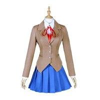 Doki Doki Literature Club Monika Cosplay Costume Game Cos School Uniform Girl Women Costumes Jacket + Skirt + Shirt + Tie