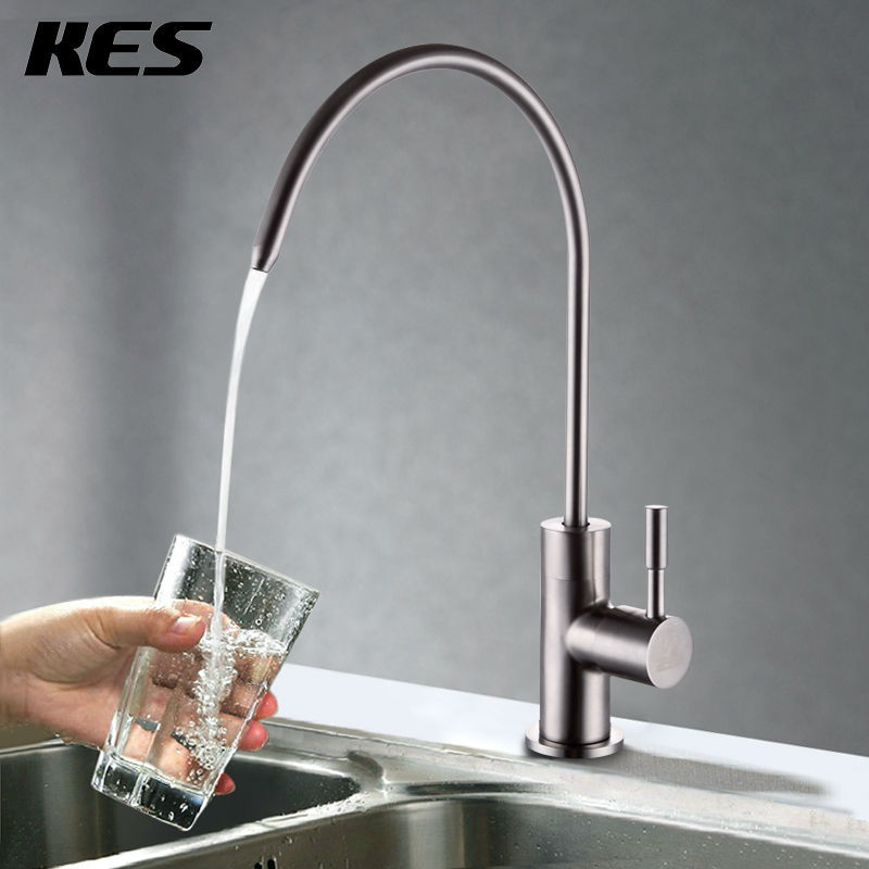 KES Z501A/B/C Lead Free Beverage Faucet Drinking Water Filtration System 1/4-Inch Tube, Brushed Stainless Steel