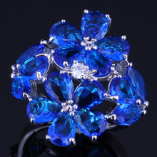 Gleaming Huge Blue Cubic Zirconia White CZ 925 Sterling Silver Ring For Women V0165