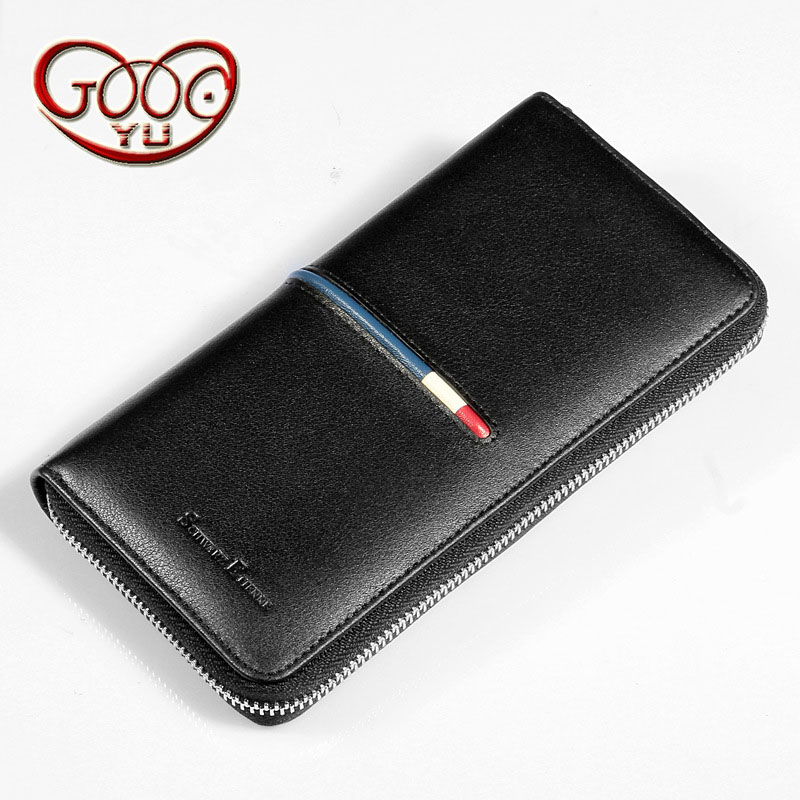 The new vertical section of the wallet men's leather long section of the handbag business Korean version of the zipper hand bag cd smokie the other side of the road new extended version