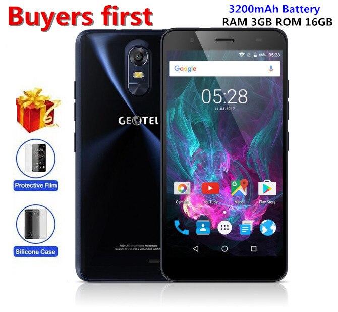 "bilder für Original Geotel Note 4G LTE 5,5 ""MTK6737 Quad Core 3 GB RAM 16 GB ROM Smartphone Android 6.0 3200 mAh GPS OTA 8.0mp Handy"