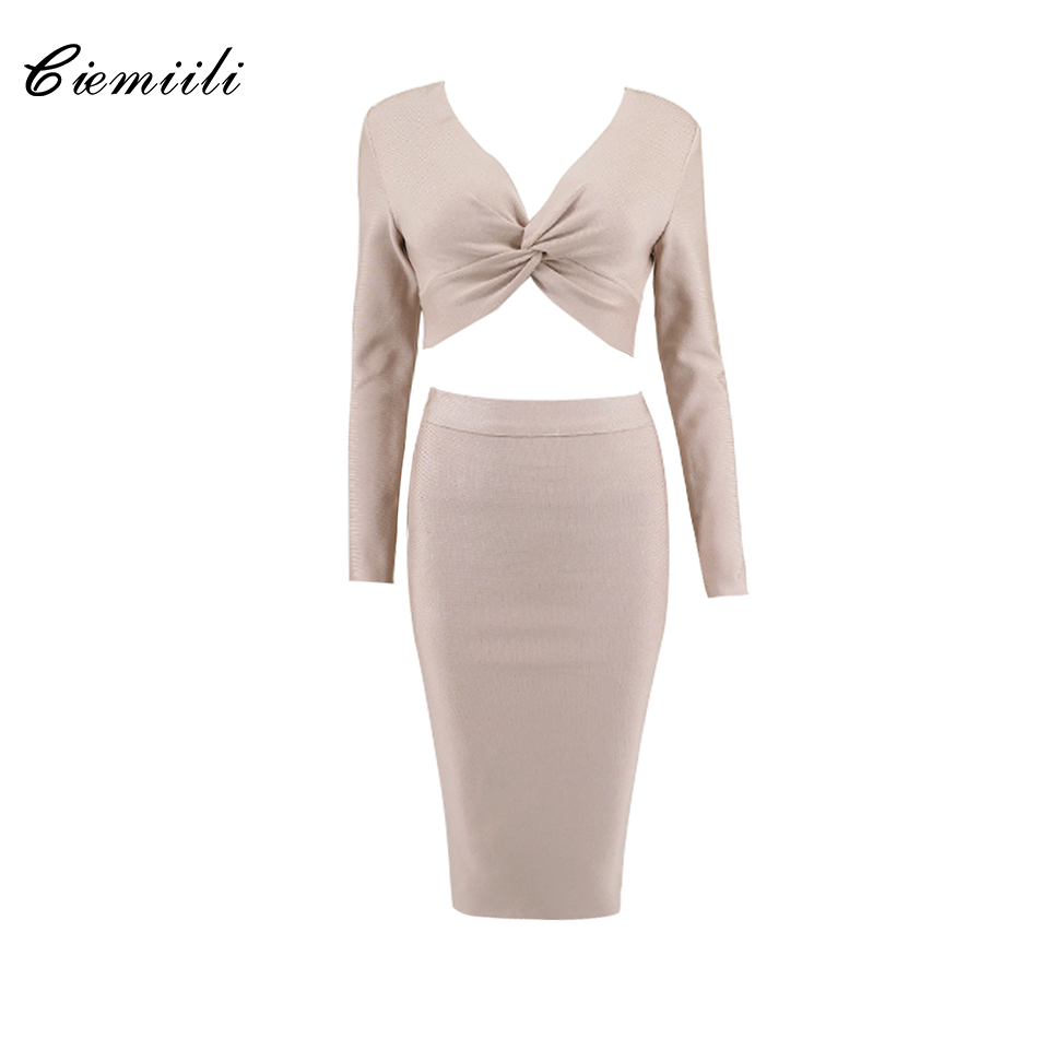CIEMIILI Full Sleeves V Neck Ruched Short Length Tops Mid Calf Skirts 2018 Celebrity New Women