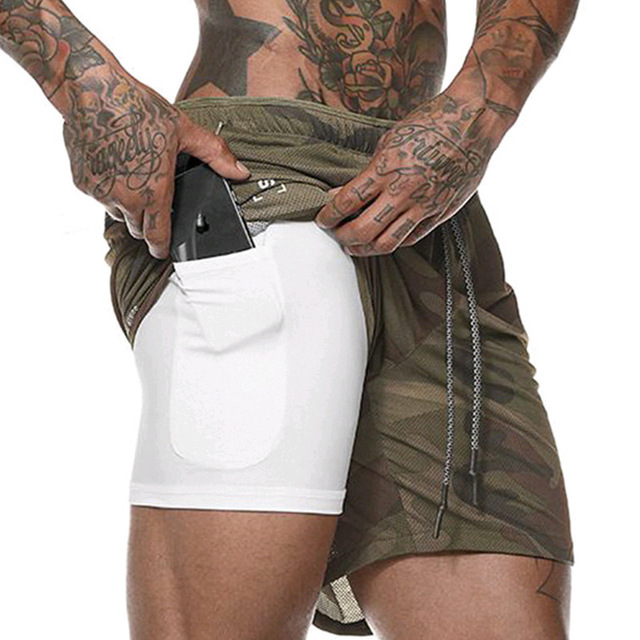 Men Fitness 2 in 1 running Shorts Casual Sports bodybuilding Fashion gym training jogging shorts mesh phone pocket New MMA Kickboxing