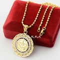 Fashion Crystal Turkey Coin Pendant  Jewelry Yellow Gold Filled Arab Pendant Necklaces Chains