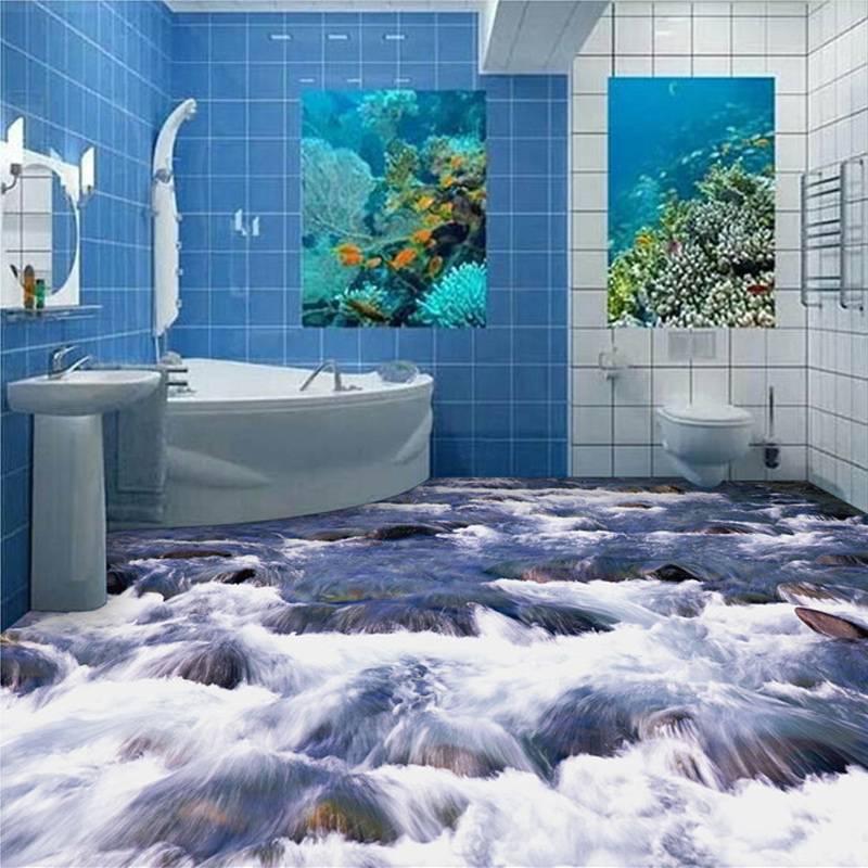 ⊰Custom Mural Wallpaper 3D Little Brook Bathroom Floor PVC ...