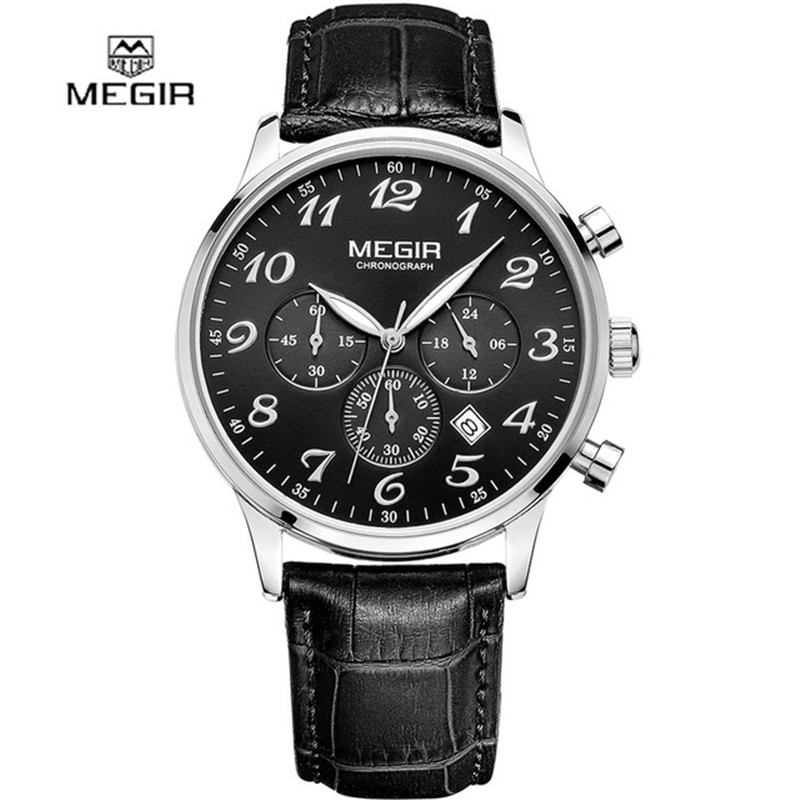 Megir Men Chronograph Watches Clock Mens Watch Top Brand Luxury Date Casual Sport Quartz Watch Male Wristwatch Relogio Masculino forsining date month display rose golden case mens watches top brand luxury automatic watch clock men casual fashion clock watch