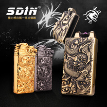 High Quailty Gravity Wave Cigarette Lighter USB Pulse Gold Plating Carving Windproof Lighters Electronic Lighter with gift box