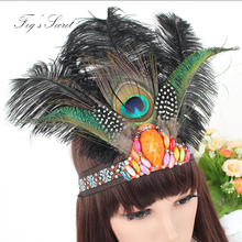 Hair Accessories Band 1920s Vintage Gatsby Party Headpiece Women Flapper Peacock Feather Headband