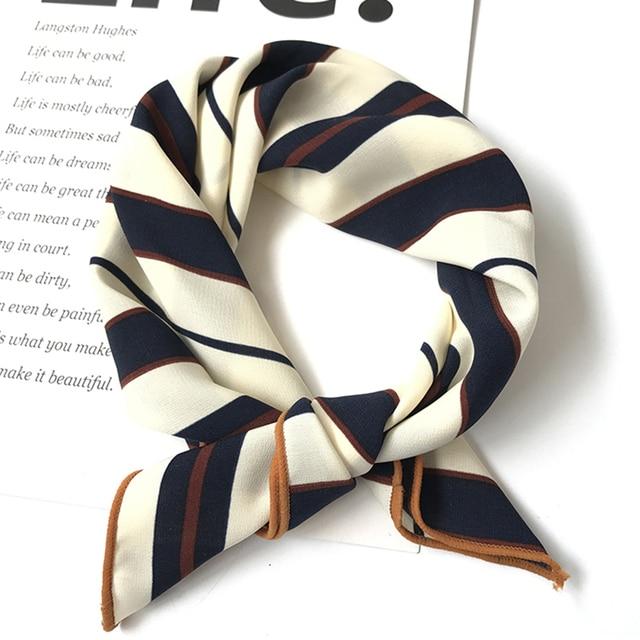 50*50 cm haute qualité soie foulard femmes petits carrés doux décoratif tête écharpe multicolore rayure imprimé foulard cou Wrap
