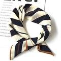 50*50 см Высокое качество шелковый шарф для женщин маленькие мягкие квадраты декоративный головной платок многоцветный полосатый платок с принтом на шею - фото