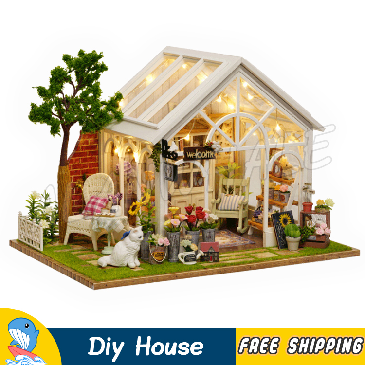 Realistic Miniature Doll House Sunshine Green Gargen Flower Shop Cat Diy Wooden Dollhouse Furnitures Adult Toys Model Building Gifts Sets Traveling Back To Search Resultstoys & Hobbies