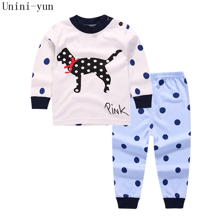 2017 White dot dog Boys Sport Suit Kids pullover Sweatshirts Pants Children Clothes Sets winter,summer baby boys clothing kids