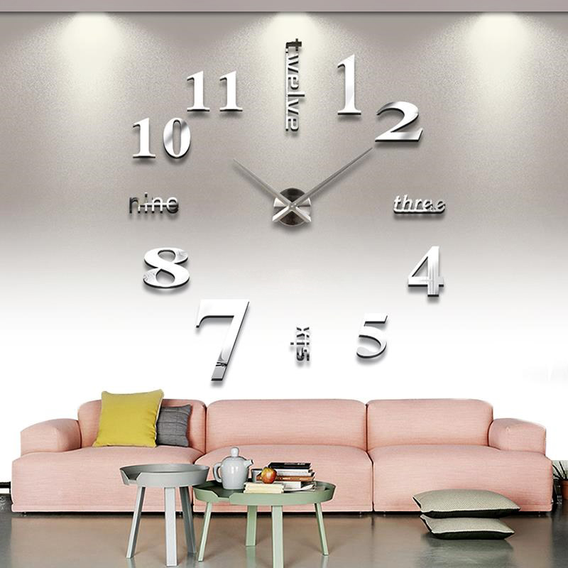 Wall Stickers Mirror Wall Clock 3D Mirror Removable Wall Clock Sticker Acrylic Clock Diy Creative