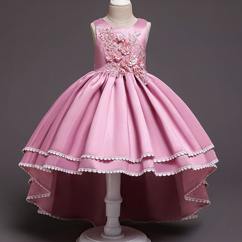 Flower Girl Romantic Wedding Wine Red Embroidery Party Dress Girl Princess Tail Dresses For The Eucharist Party Vestidos