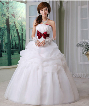 2014 New Elegance Red Bow knot Wedding Dress, Noble White bridal ...