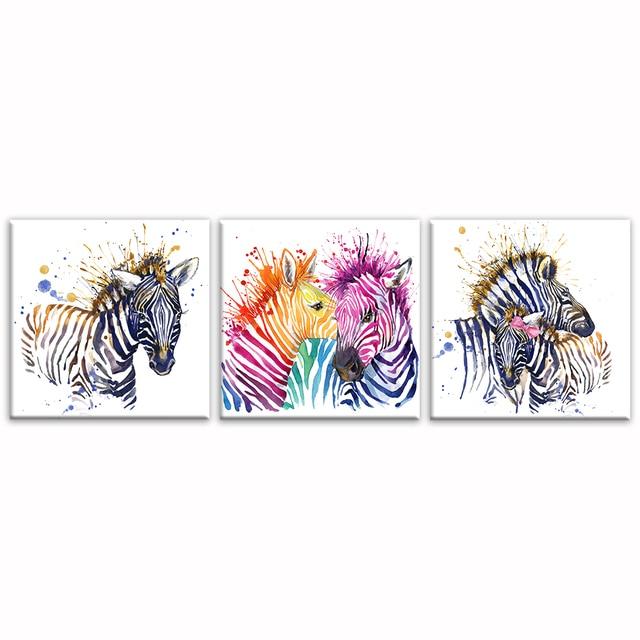 Wasser Farbe Malerei HD Zebra Bild Leinwand Schlafzimmer Wand dekor ...