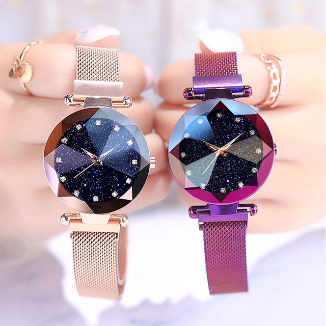 Luxury Women Watches Ladies Starry Sky Watch with Magnetic strap Female Wristwatch Rose Gold relogio feminino reloj mujer