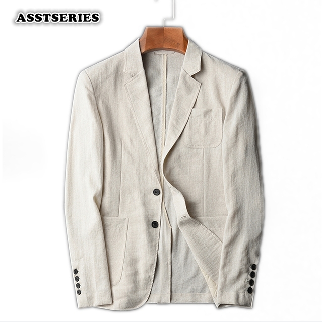 f34346acf24 Asstseries Blazer Men New Arrival Imitation Linen Suit Jacket Spring Autumn  Casual Male Single Breasted 4XL Blazer Masculino