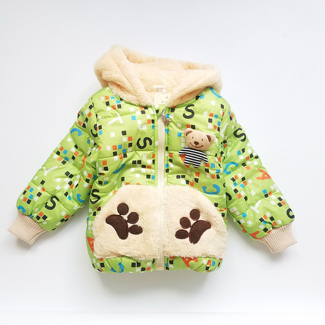 Boys Coats Winter Long Sleeve Cotton Fashion Character Bear Hoodies Outerwear Coat Winter Girl Coat kids Winter Jacket for Boys