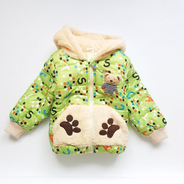Meninos Casacos de Inverno Manga Comprida de Algodão Moda Caráter Urso Hoodies Casaco Outerwear do Inverno Da Menina Casaco crianças Jaqueta de Inverno para Meninos