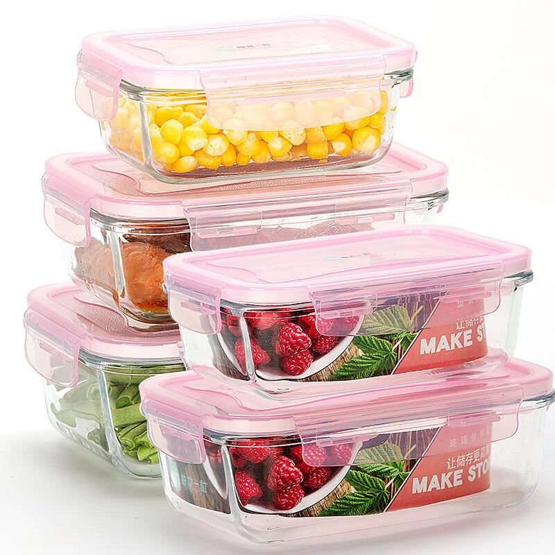 3 Pieces/Microwave Oven Heating Lunch Box For Office Worker Leakproof Glass Lunch Box Set Round With Lid Seal Health Food