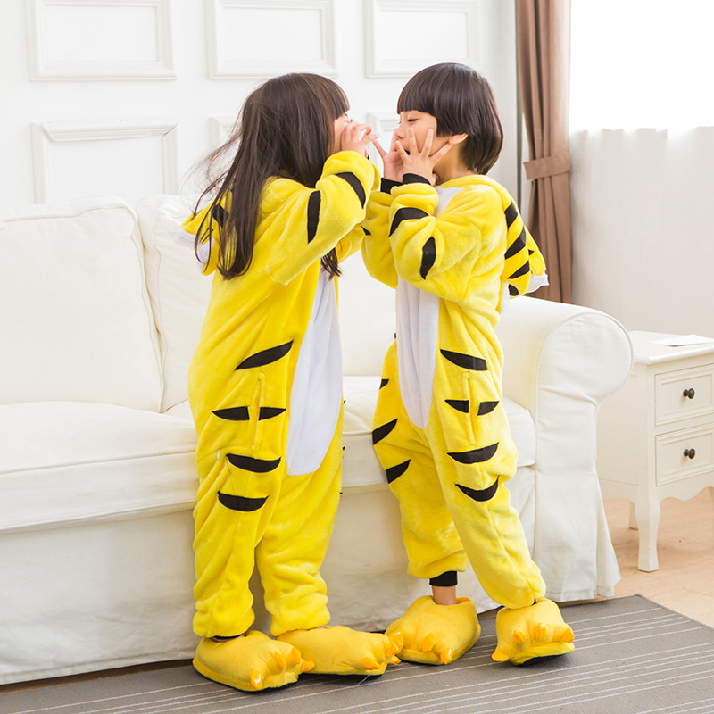 Kids Flannel Yellow Tiger Pajamas Cartoon Hooded Onesie Pajama Suite Halloween Unisex Cosplay Boy Girl Animal Costume Sleepwear