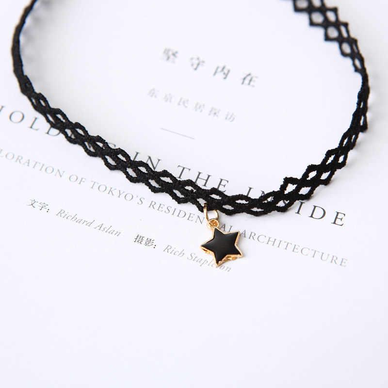 Nova chegada gargantilhas colares para jóias femininas collier femme colares estrela pentagrama oco pingente gargantilha