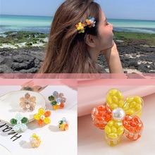 New Fashion Candy colors Cute Mini Flower resin Hairpins Women Girls Sweet Barrette Hair Clip Accessories Headwear