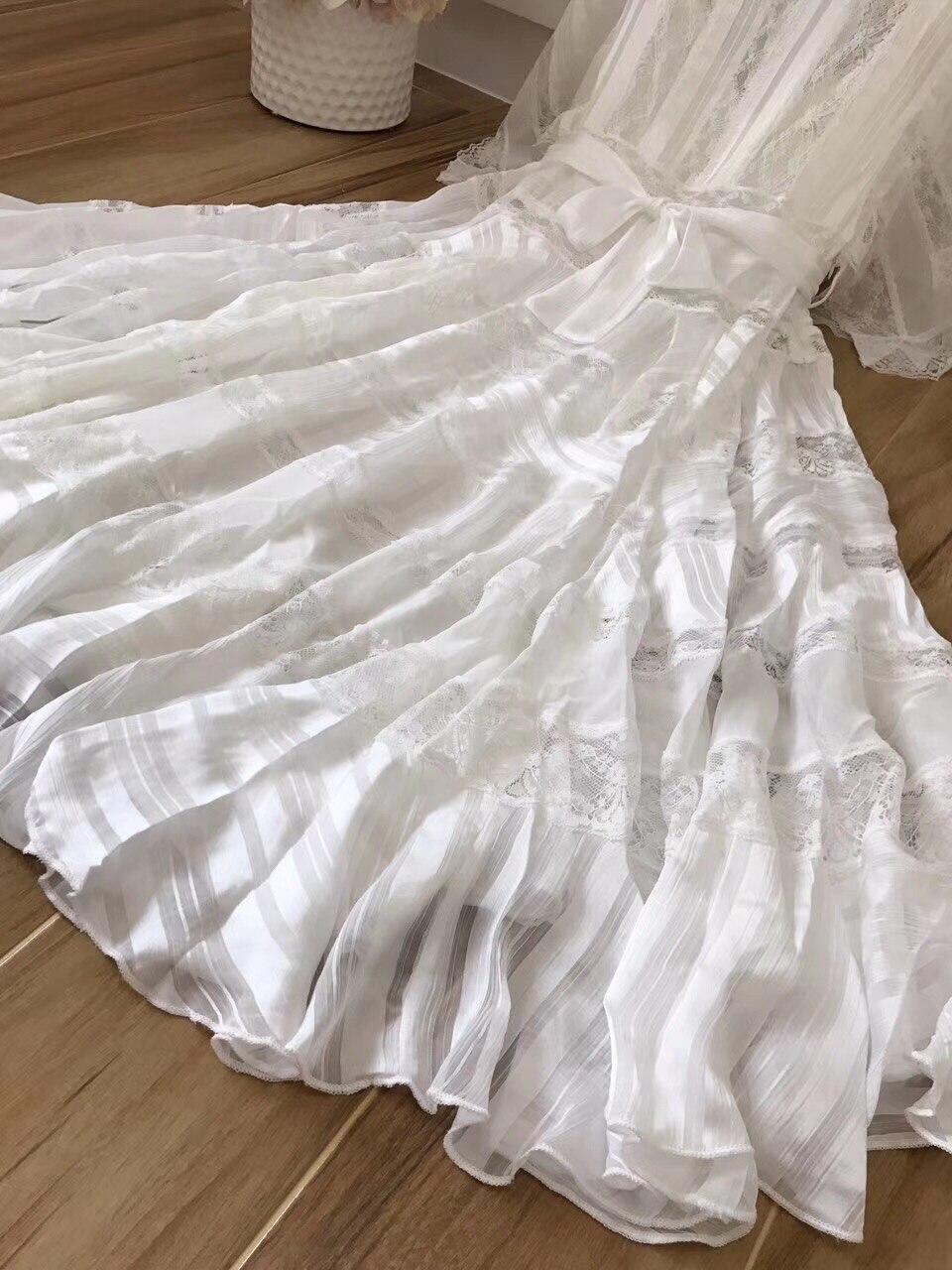 up souris Designer Dentelle O Couture Cou Rayé Australie Robe Dentelle Holiday Blanc Haute Manches Qualité Chauve qvfgxOwqB