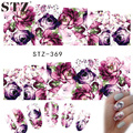 STZ 1 Sheets Nail Art Water Decals New 2016 Flower Rose Purples Designs for Women Full Cover Sticker Decorations STZ369