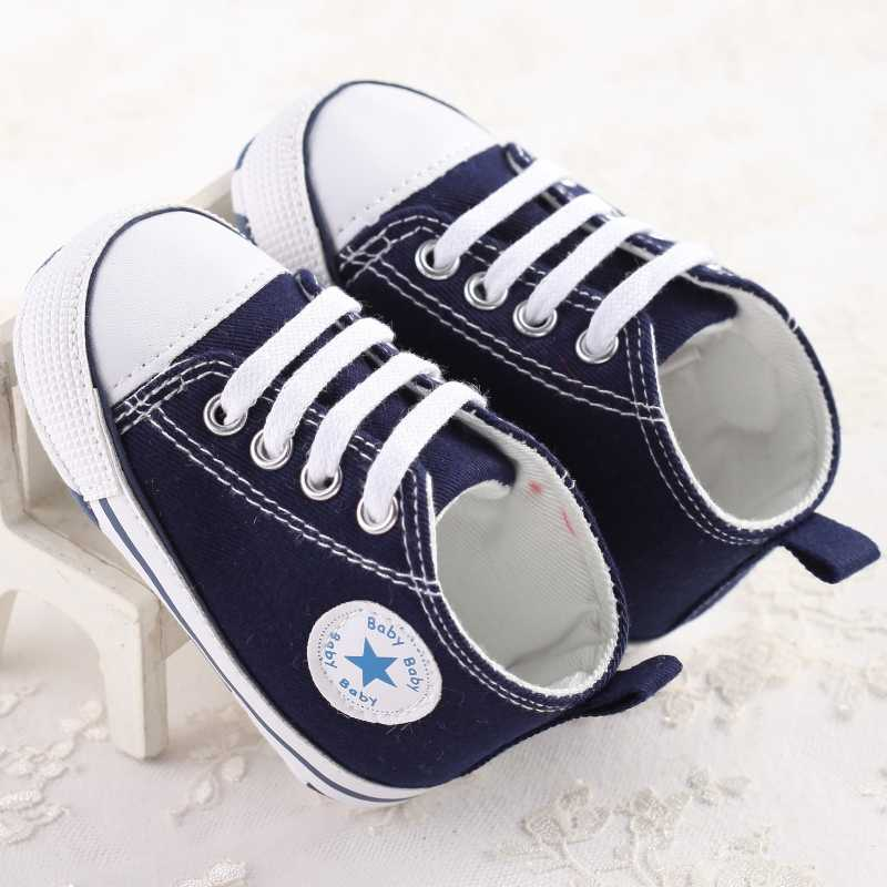 873925cedf0 ... Classic Star First Walker Baby Canvas Shoes Sports Lace-Up Low Top Boys  Girls Sneakers ...