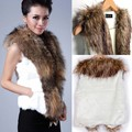2014 Winter Jacket Women Fox Fur Sleeveless Lapel Vest Outerwear Coats Hair Waistcoat b7