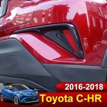 For Toyota C-HR CHR 2016 2017 2018 Carbon fiber Front /Rear Fog Light Cover Trims Back Tail Bumper FogLight Lamp Molding Garnish недорого