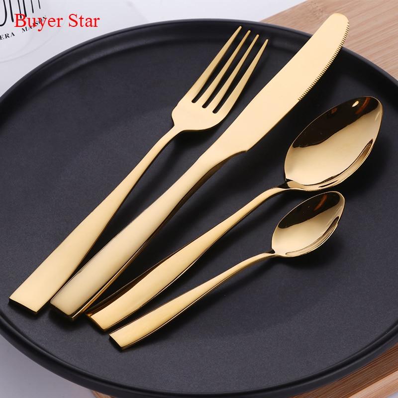 Buyer Star 24pcs Gold Plated Cutlery Set Dinner Knives Fork Set Stainless Steel Novelty Dinnerware Tableware Dinner Set