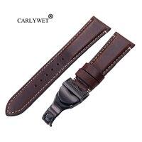 CARLYWET 22mm Wholesale Durable Genuine Leather Wrist Watchband Strap Belt Loops Band Bracelets For IWC Tudor Seiko