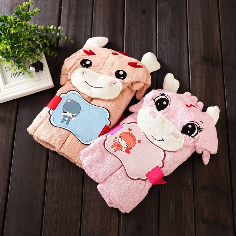 Soft baby towels animal shape hooded towel cute baby bath towel newborn hooded bathrobe for kids